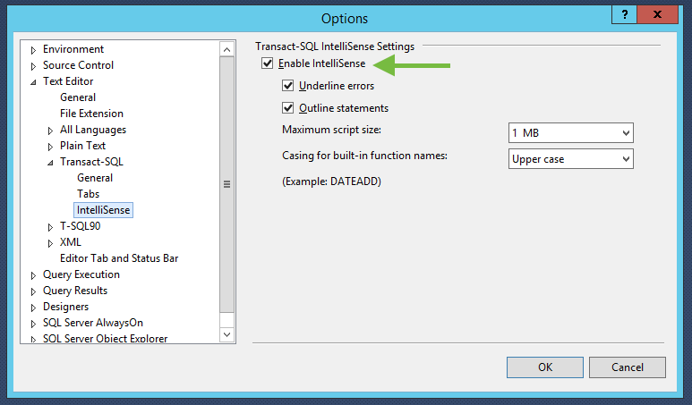 Disable or Enable Intellisense in SSMS