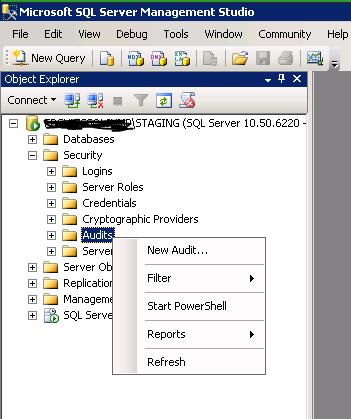 Create Database Audit 1