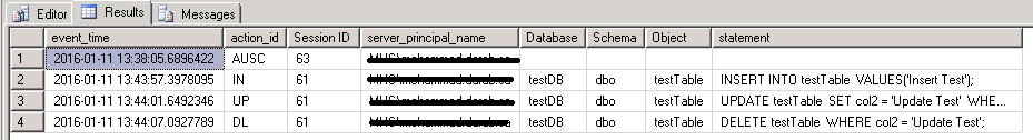 Create Database Audit 8