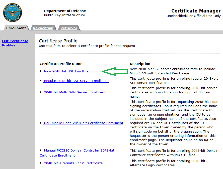 How To Request A Dod Server Certificate