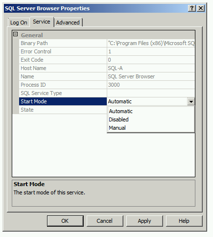 SQL Server Browser SQL Configuration Manager services Tab