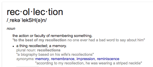 Definition of Recollection