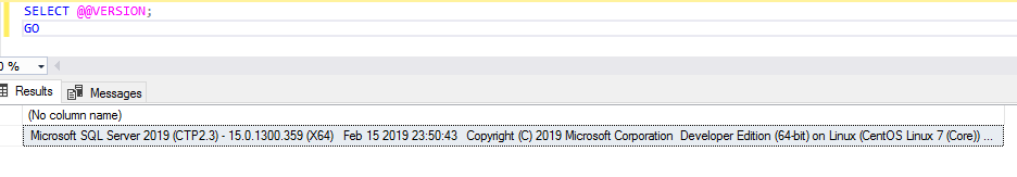 Successful Connection from SSMS to Cent01