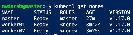 kubectl get nodes all cluster nodes